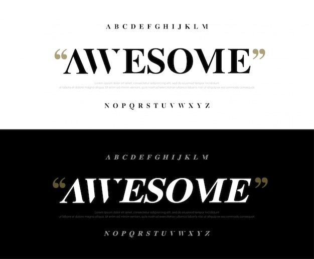 Insieme di caratteri di alfabeto classico impressionante elegante lettere.