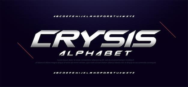 Insieme di caratteri di alfabeto moderno sport tipografia tipografia
