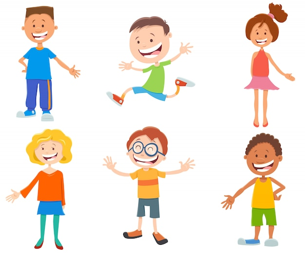 Insieme di caratteri teenager della formica dei bambini felici del fumetto