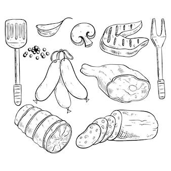 Insieme di carne deliziosa per barbeceu con stile abbozzato o disegnato a mano sul fondo della lavagna