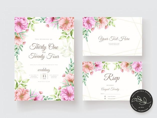 Insieme di carta dell'acquerello floreale e foglie dell'invito