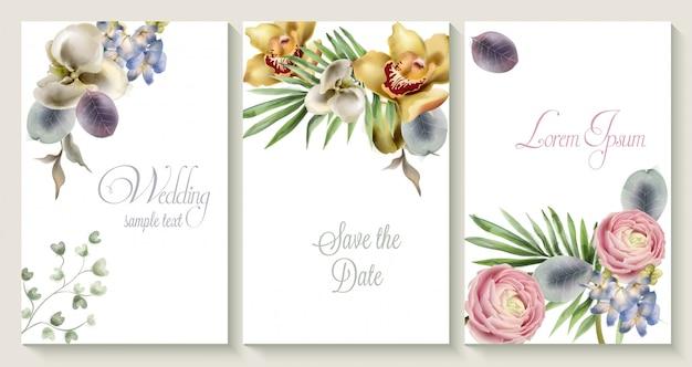 Insieme di carta dell'invito di nozze di vettore con i fiori dell'orchidea