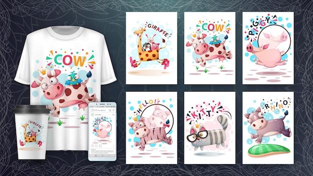 Insieme di carta e merchandising di salto svegli dell'illustrazione degli animali.