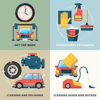 Insieme di carte degli elementi di lavaggio a secco dell'automobile