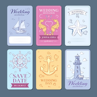 Insieme di carte dell'invito di nozze di vettore di viaggio del mare