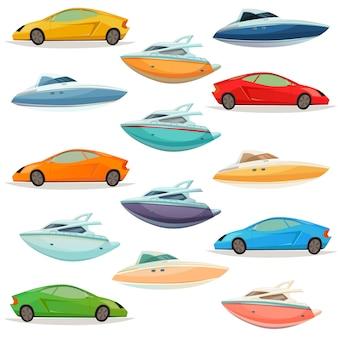 Insieme di cartoni animati di barche di yacht di automobili