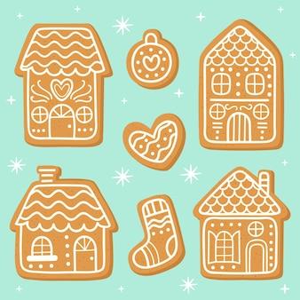 Insieme di casa di marzapane disegnato a mano