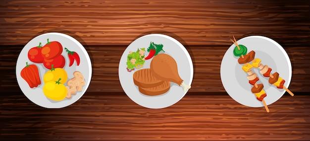 Insieme di cibo delizioso in fondo in legno
