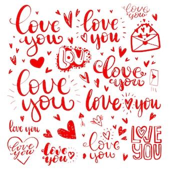 Insieme di citazioni di amore disegnato a mano in amore