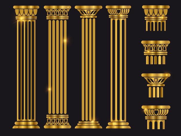 Insieme di colonne di architettura antica roma