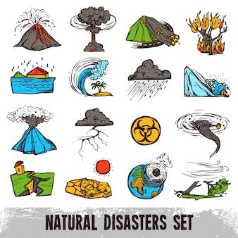 Insieme di colori di disastri naturali