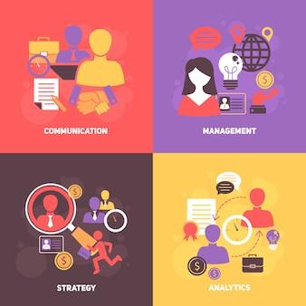 Insieme di composizione di avatar e elementi di colloquio di lavoro