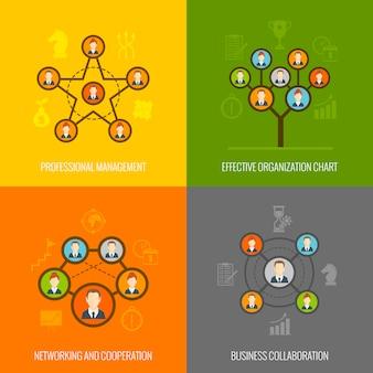Insieme di composizione di elementi piatti di persone connesse
