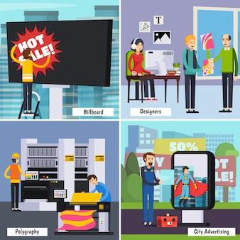 Insieme di composizione isometrica di servizi di agenzia pubblicitaria