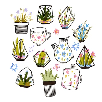 Insieme di composizioni floreali di doodle