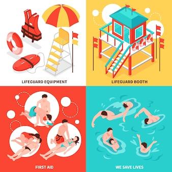 Insieme di concetti 2x2 dei bagnini della spiaggia dell'inventario del bagnino e del salvataggio delle composizioni isometriche anneganti