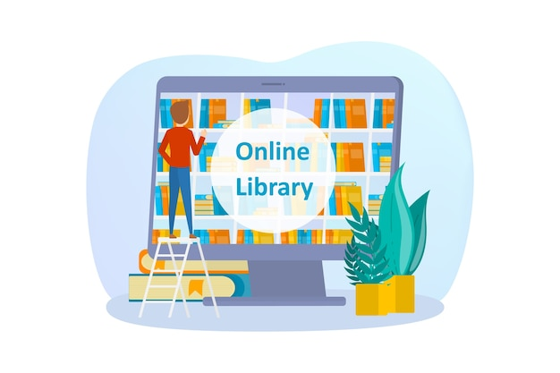 Insieme di concetti di biblioteca online. utilizzo del telefono cellulare e del computer per l'apprendimento e l'istruzione. le persone leggono libri digitali sui loro smartphone. illustrazione