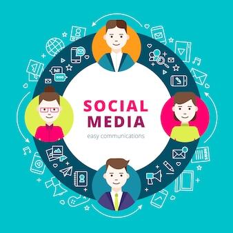 Insieme di concetto del gruppo di media sociali della linea icone della rete e persone creative