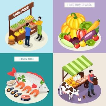 Insieme di concetto del mercato dell'agricoltore della frutta e delle verdure fresche dei prodotti lattiero-caseari dei frutti di mare isometrici