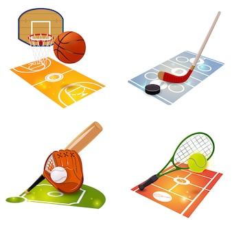 Insieme di concetto dell'attrezzatura di sport