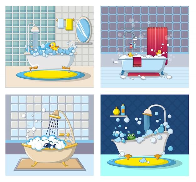 Insieme di concetto dell'insegna della schiuma della vasca da bagno