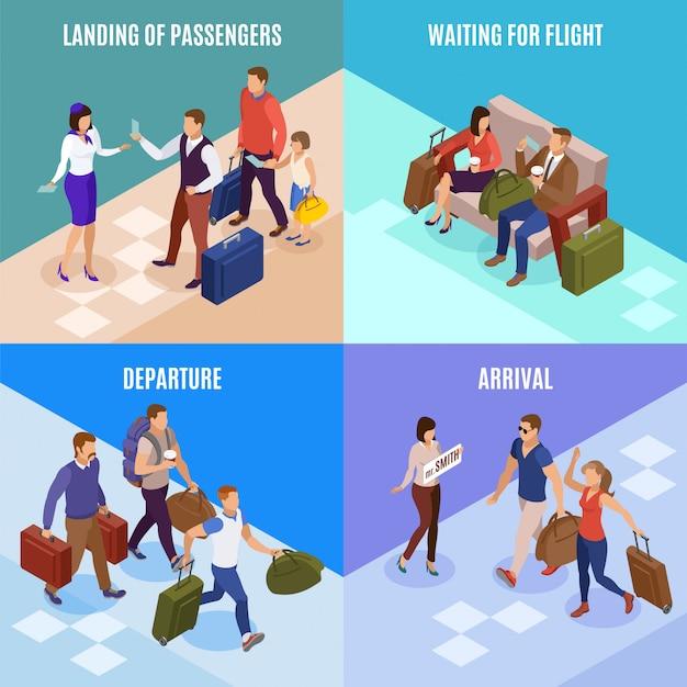Insieme di concetto della gente 2x2 di viaggio dell'atterraggio di partenza di arrivo illustrato icone quadrate dei passeggeri isometrico