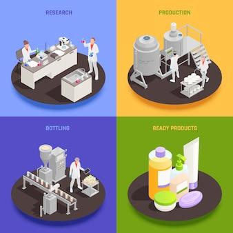 Insieme di concetto di design di cosmetici 2x2 di imbottigliamento di produzione di ricerca e composizioni quadrate di prodotti pronti isometrici