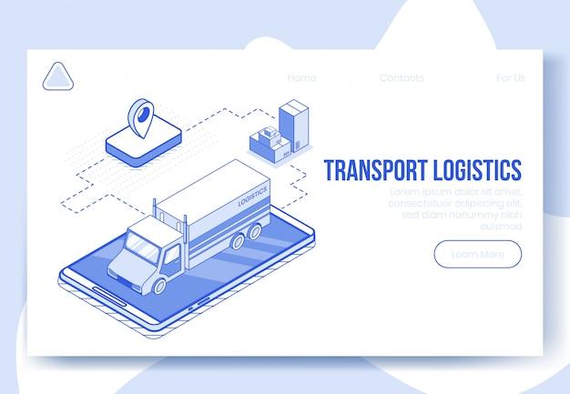 Insieme di concetto di design isometrico digitale della soluzione logistica