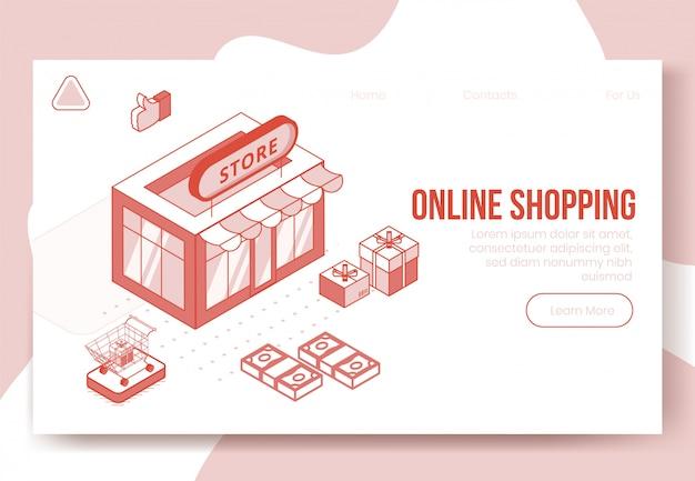 Insieme di concetto di design isometrico digitale delle icone 3d app shopping online.