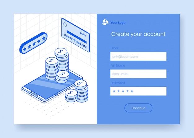 Insieme di concetto di design isometrico digitale delle icone 3d di app banking online finanziario