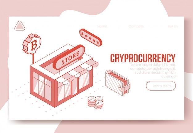 Insieme di concetto di design isometrico digitale di cryptocurrency finanziaria 3d iconsoncept