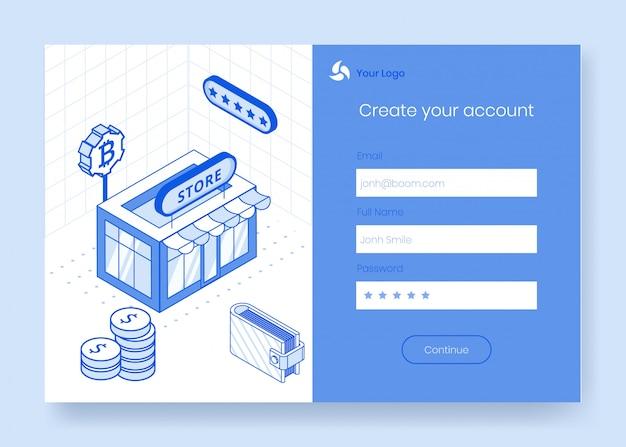 Insieme di concetto di design isometrico digitale di cryptocurrency finanziaria app icona 3d