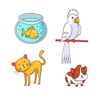 Insieme di concetto di diversi animali domestici