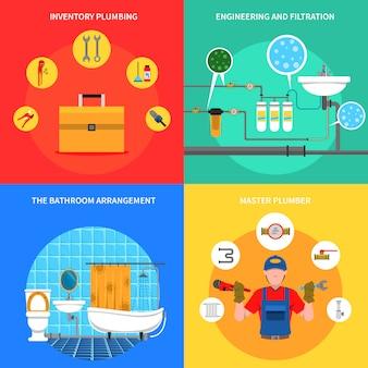 Insieme di concetto di impianto idraulico