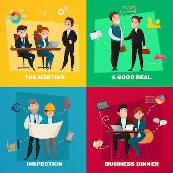 Insieme di concetto di persone di affari