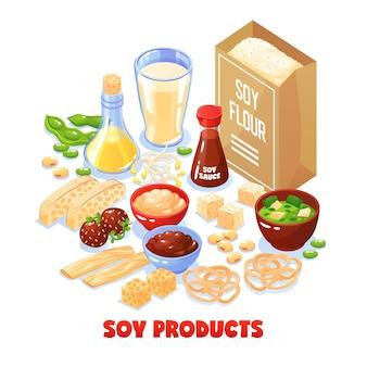 Insieme di concetto di prodotti di soia del pacchetto con farina di soia e piatti dal fumetto di soia