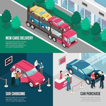 Insieme di concetto di progettazione di leasing del concessionario auto