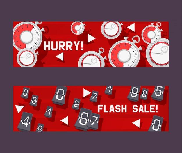 Insieme di concetto di timer di banner affrettati a non essere in ritardo per lo sconto in negozio o negozio. vendita flash con conto alla rovescia. modifica dei numeri shopping cose. orologio