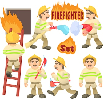 Insieme di concetto di vigile del fuoco