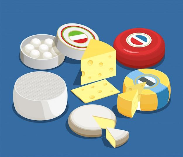 Insieme di concetto isometrico assortimento di formaggi di mozzarella maasdam brie e altri tipi di formaggio