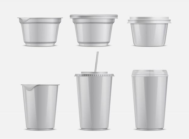 Insieme di contenitori di plastica di cibo e bevande di vettore