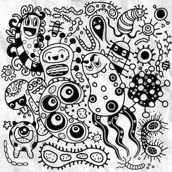 Insieme di contorni di batteri e germi, microrganismi che causano malattie, diversi tipi, batteri, virus. stile doodle.