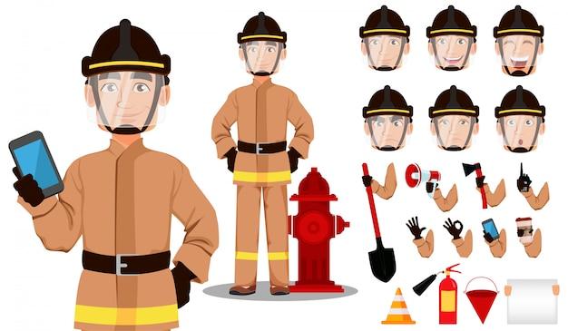 Insieme di creazione del personaggio dei cartoni animati del pompiere