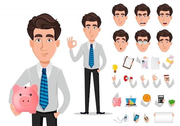 Insieme di creazione del personaggio dei cartoni animati dell'uomo d'affari