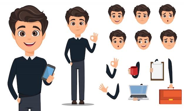 Insieme di creazione del personaggio dei cartoni animati dell'uomo di affari