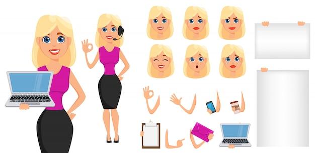 Insieme di creazione del personaggio dei cartoni animati della donna di affari