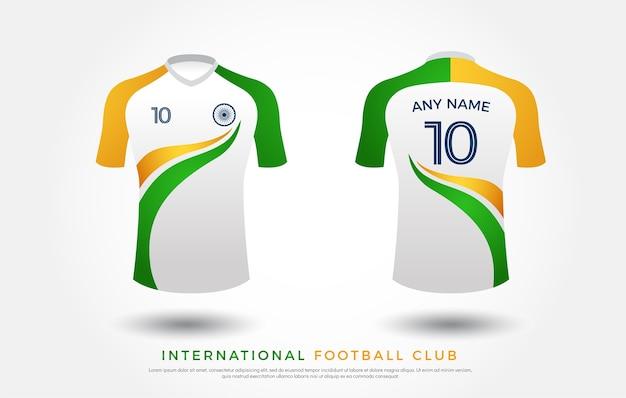 Insieme di design t-shirt calcio uniforme. maglia da calcio gialla, blu e rossa