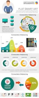 Insieme di diagrammi infographic concetto di tecnologie dell'informazione