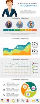 Insieme di diagrammi infographic di concetto di progresso e analitica di affari