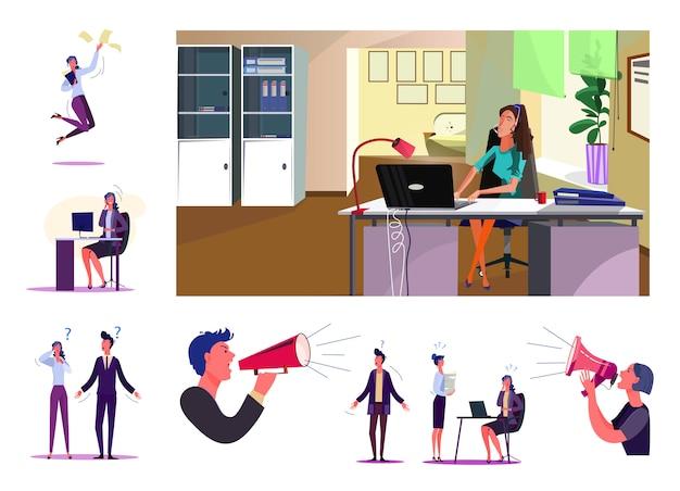 Insieme di dipendenti durante il processo di lavoro